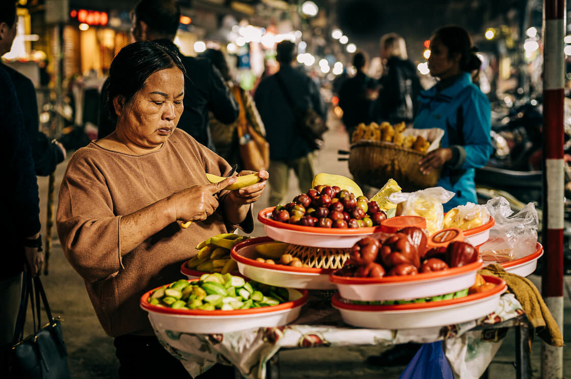 Street Vendors at Night - Hanoi